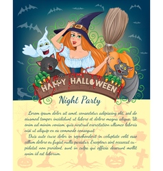 Halloween banner with text vector image