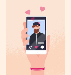 hand holding smartphone with portrait bearded vector image