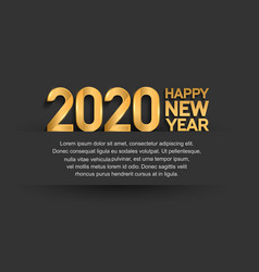 Happy new year 2020 golden number isolated black vector