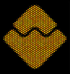 hexagon halftone waves currency icon vector image