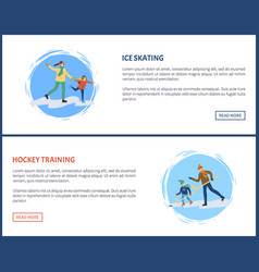 Hockey training winter games and sports web set vector