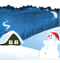 House and snowman vector