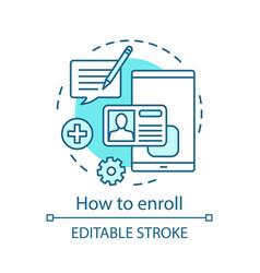 How to enroll concept icon vector