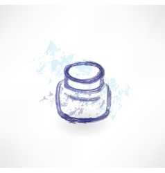 Ink jar grunge icon vector