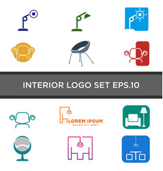 Interior light logo design with line style vector