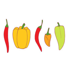 isolated flat set pepper vector image