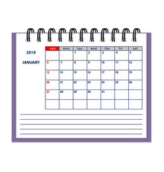 isolated january page 2019 planner calendar vector image