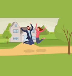 jumping couple flat man and vector image