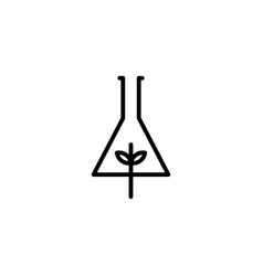 leaf lab nature logo icon line outline monoline vector image