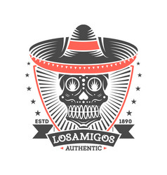 Los amigos vintage isolated label with skull vector