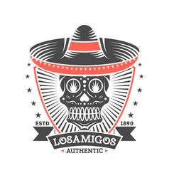 Los amigos vintage isolated label with skull vector