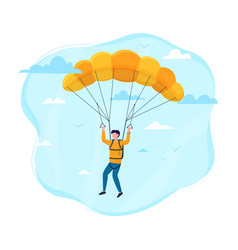 male skydiver flying with a parachute vector image