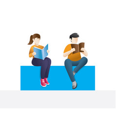 man and woman reading studying and education vector image