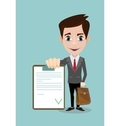 Man in a suit businessman hold list of tasks vector