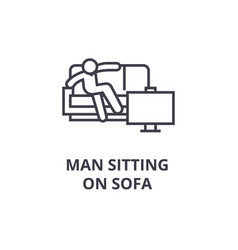 man sitting on sofa thin line icon sign symbol vector image