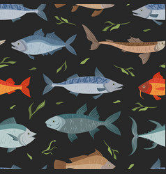 Marine and river fishes seamless pattern fabric vector
