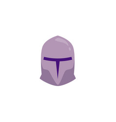 Medieval knight helmet in flat cartoon style vector
