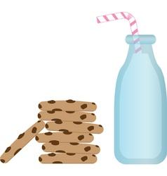 Milk and cookies vector