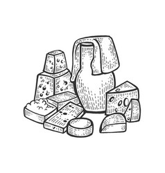 milk products r sketch engraving vector image