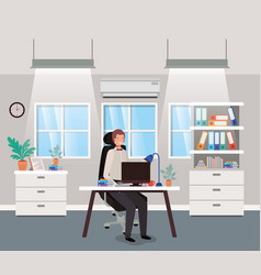 Modern office with businessman sitting vector