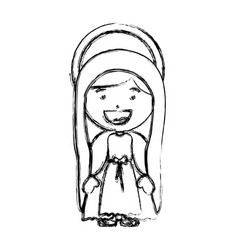 Monochrome blurred silhouette of saint virgin mary vector