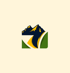 mountain nature landscaping creative logo vector image