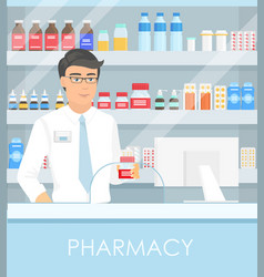 Pharmacist in pharmacy with vector
