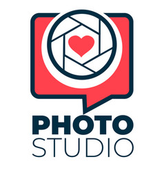 photo studio logotype with shutter and heart vector image