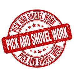 Pick and shovel work red grunge stamp vector