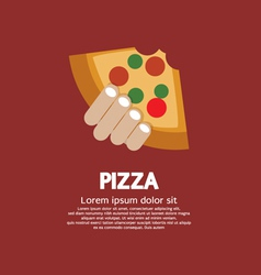 Piece Of Pizza In Hand vector image