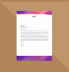 Polygonal purple and blue letterhead vector