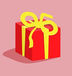 Red Gift Box with Yellow Ribbon vector image