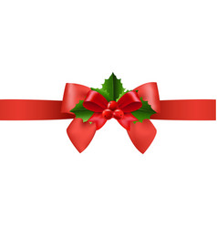 red ribbon with holly berry white background vector image