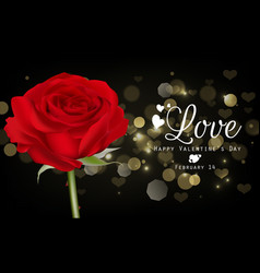 Red roses and hearts on black background vector