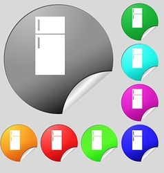 Refrigerator icon sign Set of eight multi colored vector