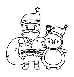 santa with bag and penguin celebration merry vector image
