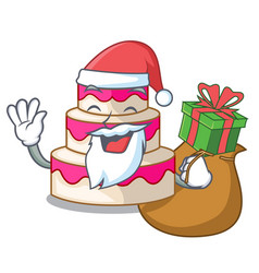 Santa with gift wedding cake isolated with the vector