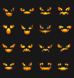 scary faces glowing silhouette halloween pumpkin vector image