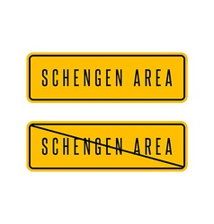 Schengen zone yellow sign European customs area vector