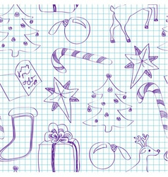 Seamless child sketched Christmas pattern vector image