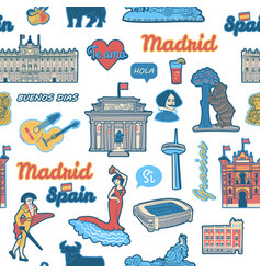 seamless pattern inspired spain and madrid vector image