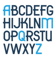 Set capital alphabet letters made with white vector