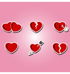 set of color icons with hearts vector image
