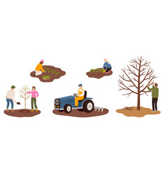 set of happy farmers working on farm planting vector image