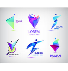 set of human man people group logos vector image