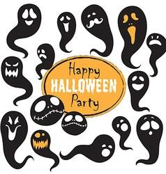 Set Of Vintage Happy Halloween flat ghosts vector