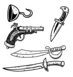set pirate ancient weapon design element vector image