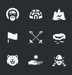 set polar station icons vector image