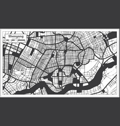 shenyang china city map in black and white color vector image