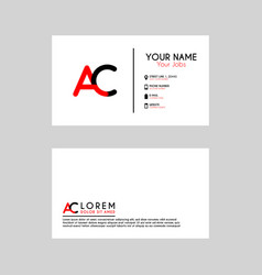simple business card with initial letter ac vector image